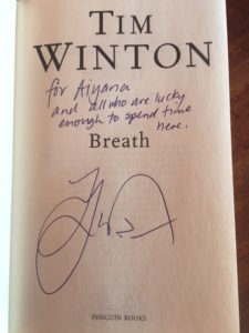 The inside cover page of Tim Winton's book Breath with his signature.